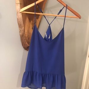 Blue flowy tank top